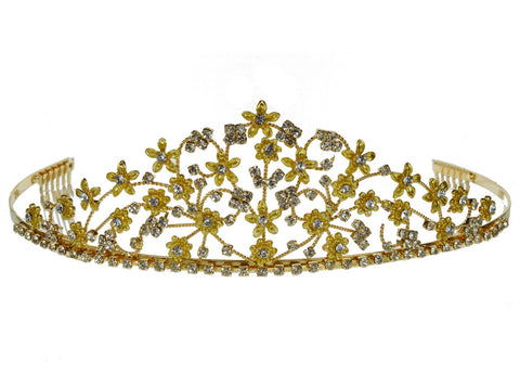 SC Rhinestone Crystal Prom Bridal Wedding Gold Tiara Crown With Flowers 6084G7