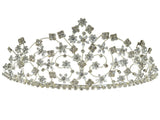 SC Rhinestone Crystal Prom Bridal Wedding Silver Tiara Crown With Flowers 60878