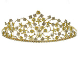SC Rhinestone Crystal Prom Bridal Wedding Gold Tiara Crown With Flowers 6087G8