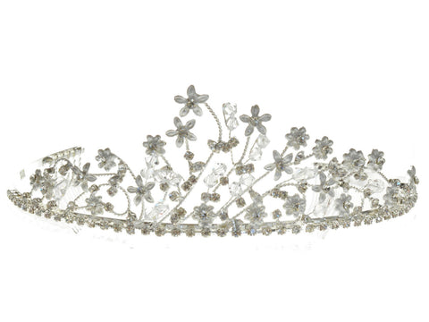 SC Rhinestone Crystal Prom Bridal Wedding Silver Tiara Crown With Flowers 60896