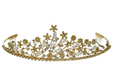 SC Rhinestone Crystal Prom Bridal Wedding Gold Tiara Crown With Flowers 6089G