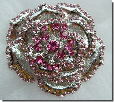 Two-Toned Pink Crystals Rose Pin BROOCH,PIN B1W43