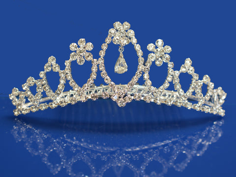 SparklyCrystal Princess Bridal Wedding Tiara Comb With Flower Crystal Center 62095
