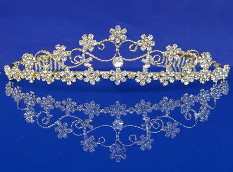 SparklyCrystal Bridal Wedding Prom Rhinestone Crystal Gold Tiara 7275G7
