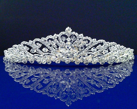 Bridal Wedding Tiara Crown With Crystal Flowers 91756