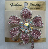 Pink Crystals Flower Pin B1W23