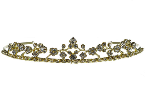SC Gold Bridal Wedding Prom Tiara Crown With Rhinestone Crystal Flowers C528G6