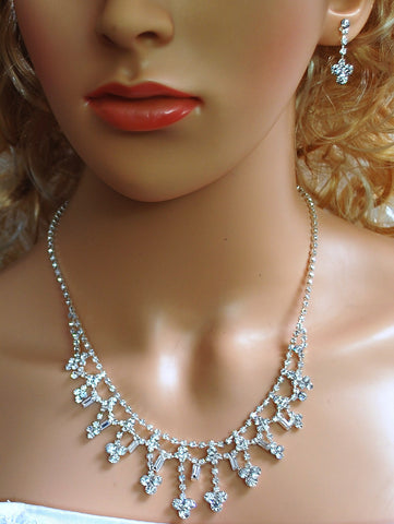 "Bridal Wedding Prom Pageant Crystal Necklace and Earring Set, 18"" with Adjustable Chain N1D17"
