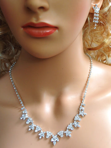 "SC Bridal Prom Floral Crystal Necklace and Earring Set, 18"" with Adjustable Chain N1D65"