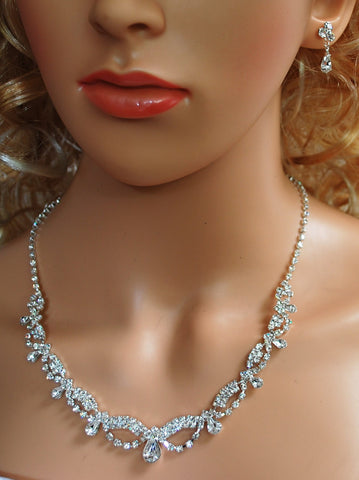 "SparklyCrystal Bridal Prom Crystal Necklace and Earring Set, 18"" with Adjustable Chain N1D7M"