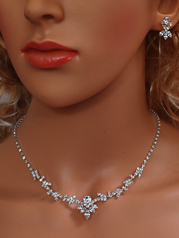 "Bridal Wedding Prom Pageant Crystal Necklace and Earring Set, 18"" with Adjustable Chain N1X17"
