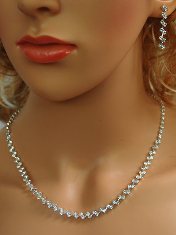 "Bridal Wedding Prom Pageant Crystal Necklace and Earring Set, 18"" with Adjustable Chain N1X56"