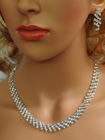 "SC Bridal Prom Crystal Drop Necklace and Earring Set, 18"" with Adujustable Chain N1X75"