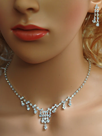 "SC Bridal Prom Wedding Pageant Necklace and Earring Set, 18"" with Adjustable Chain N1Y25"