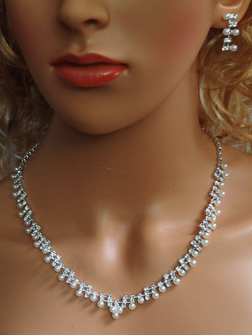 "Bridal Wedding Prom Pageant Crystal Necklace and Earring Set, 18"" with Adjustable Chain N1Y76"