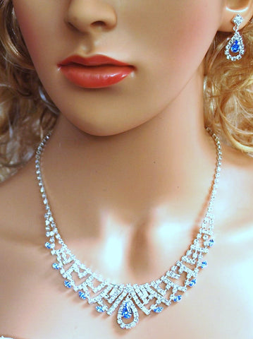 "Bridal Wedding Prom Pageant Crystal Necklace and Earring Set, 18"" with Adjustable Chain N1Y87"