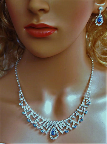 "Bridal Wedding Prom Pageant Crystal Necklace and Earring Set, 18"" with Adjustable Chain N1Y8a"