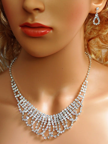 "Bridal Wedding Prom Pageant Crystal Necklace and Earring Set, 18"" with Adjustable Chain N1Y97"
