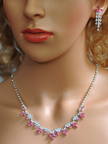 Bridal Wedding Prom Pageant Crystal Necklace and Earring Set N1Z7