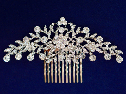 SparklyCrystal Side Bridal Rhodium Hair Comb Wedding Hairpiece with Crystal Flowers SCA1