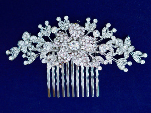 SparklyCrystal Side Bridal Rhodium Hair Comb Wedding Hairpiece with Crystal Flower and Leaves SCA2