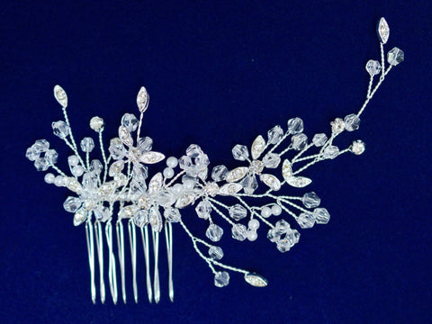 SparklyCrystal Side Bridal Silver Hair Comb Wedding Hairpiece with Rhinestone Encrusted Leaves SCA3