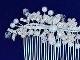 Bridal Hair Side Comb Hairpiece with Rhinestone and Pearl Encrusted Flowers SCB2