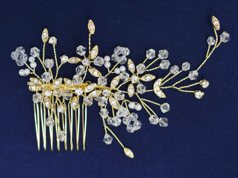 SparklyCrystal Side Bridal Gold Hair Comb Wedding Hairpiece with Gold Leaves SCB3