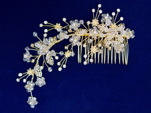 SparklyCrystal Side Bridal Gold Hair Comb Wedding Hairpiece with Clear Beaded Flowers SCB4
