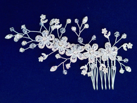 Bridal Silver Hair Side Comb Hairpiece with Rhinestone Encrusted Flowers and Leaves SCB5