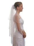 2T 2 Tier Flower Pearl Edge Petite Fingertip Length Bridal Wedding Veil VA5A3
