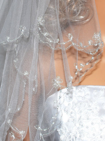 SparklyCrystal Women's Wedding Veil 2 T Silver Wire Edge Chapel Length Vb2A4 White