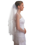 2T 2 Tier Silver Lined Beaded Edge Fingertip Length Bridal Wedding Veil VB9A3
