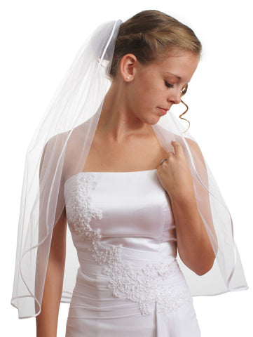 "SparklyCrystal Women's Wedding Veil 1 T 1/8"" Ribbon Edge Elbow Length VC3A2"