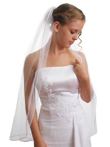 "SparklyCrystal Women's Wedding Veil 1 T 1/8"" Ribbon Edge Fingertip Length VC3A3"