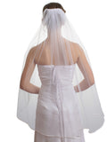 "SparklyCrystal 1T 1 Tier Pencil Edge Bridal Wedding Veil - White Fingertip Length 36"" VC3A3"