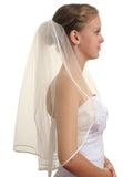 "SparklyCrystal 1T 1 Tier Pencil Edge Bridal Wedding Veil - Ivory Shoulder Length 25"" VC3B1"