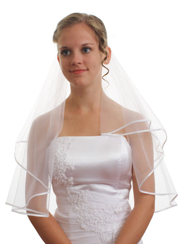 "SparklyCrystal Women's Wedding Veil 2 T 1/8"" Ribbon Edge Shoulder Length VC4A1"