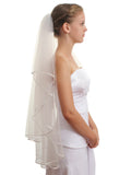 "SparklyCrystal 2T 2 Tier 1/8"" Ribbon Edge Bridal Wedding Veil - Ivory Fingertip Length 36"" VC4B3"