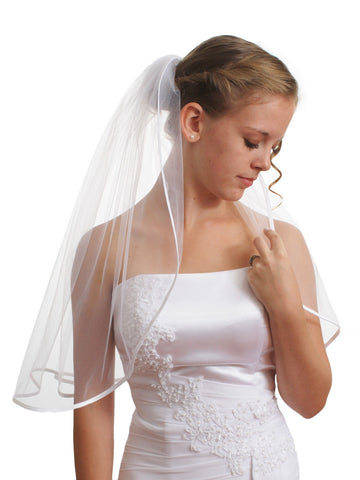 "SparklyCrystal 1T 1 Tier 1/4"" Ribbon Edge Bridal Wedding Veil - White Shoulder Length 25"" VC5A1"