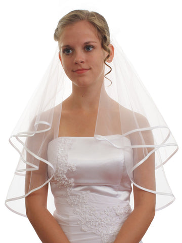 "SparklyCrystal Women's Wedding Veil 2 T 1/4"" Ribbon Edge Shoulder Length VC6A1"