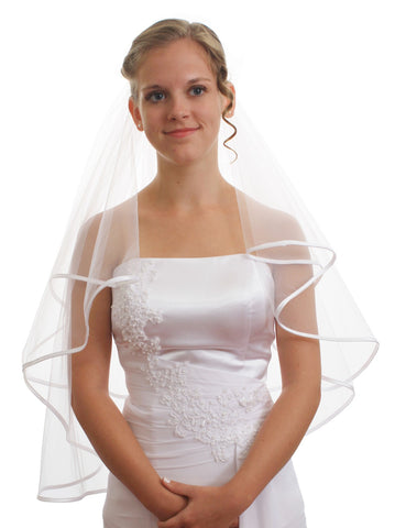 2T 2 Tier Pencil Edge Crystal Bridal Wedding Veil VE6A2