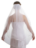 "SparklyCrystal Women's Wedding Veil 2 T 1/4"" Ribbon Edge Fingertip Length VC6A3"