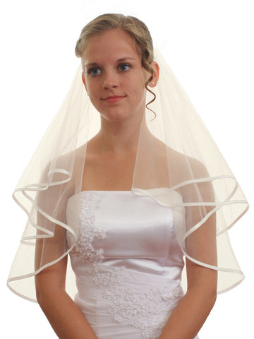 "SparklyCrystal 2T 2 Tier 1/4"" Ribbon Edge Bridal Wedding Veil - Ivory Shoulder Length 25"" VC6B1"