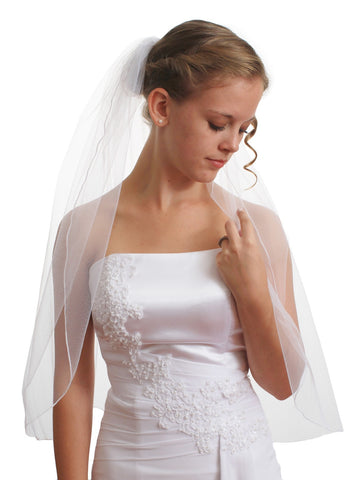1T 1 Tier Pencil Edge Elbow Length Bridal Wedding White Veil VE2A2