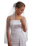 1T 1 Tier Satin Rattail Cord Edge Fingertip Length Crystal Bridal Wedding Veil VE4A3