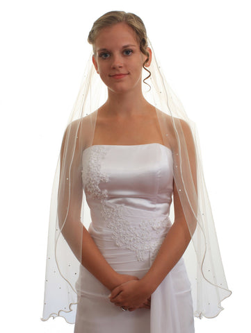 1T 1 Tier Satin Rattail Cord Edge Fingertip Length Crystal Bridal Wedding Veil VE4B3