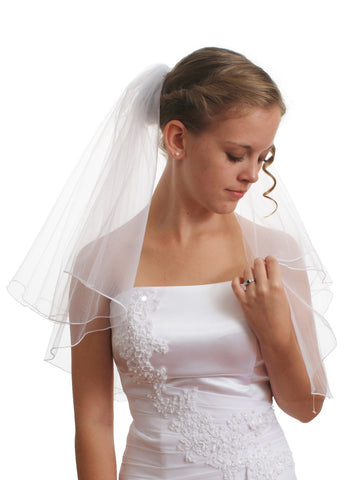 SparklyCrystal Women's Bridal Wedding Veil 2 T Pencil Edge Shoulder Length VE5A1