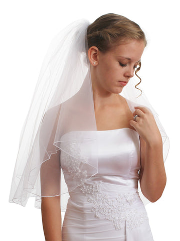 SparklyCrystal Women's Bridal Wedding Veil 2 T Pencil Edge Elbow Length VE5A2