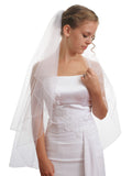 SparklyCrystal Women's Bridal Wedding Veil 2 T Pencil Edge Fingertip Length VE5A3